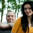 Closeup portrait of smiling young couple in love - Outdoors — Stock Photo #12172411