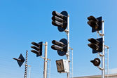 Railway Traffic Lights against blue sky background — Stock Photo