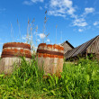 Old wooden barrels cask for wine — Stock Photo