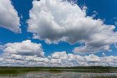 Vackert landskap med blå himmel och moln. — Stockfoto