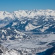Stock Photo: Ski resort and mountains of Zell am See, AustriAlps at wi