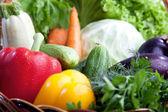 Färska grönsaker i en korg på vit. — Stockfoto