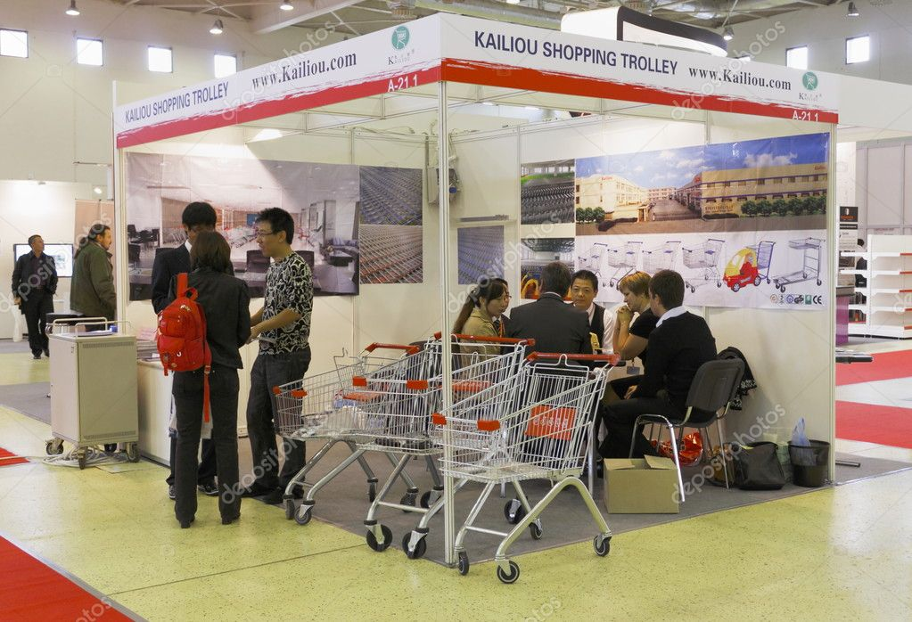 MOSCOW-SEPTEMBER 6:Shopping trolleys Chinese company KAILIOU at the international exhibition SHOP DESIGN RETAIL TEC RUSSIA 2011 on September 6,2011 in Moscow  Stock Photo #11245955
