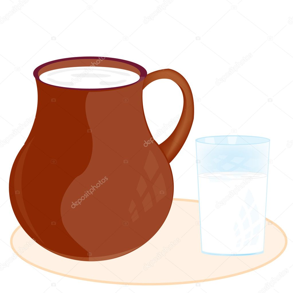 Pitcher c glass pervaded milk  Stock Vector #10755289