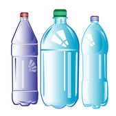 Plastic bottles with water — Stock Vector