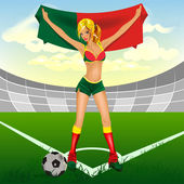 Portuguese girl soccer fan — Stock Vector