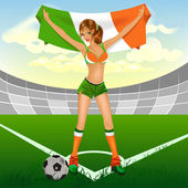 Ireland girl soccer fan — Stock Vector