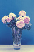 Bunch of peonies in vase — Stock Photo