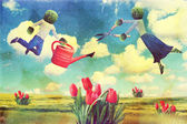Art collage with flying — Stock Photo
