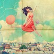 Stock Photo: Art collage with beautiful young womin jump