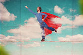 Superman on sky — Stock Photo