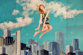 Sztuka kolażu ze skakaniem kobieta — Zdjęcie stockowe