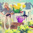 Art collage with beautiful young woman in flowers - Stock Photo