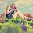 Art collage with beautiful woman - Stockfoto