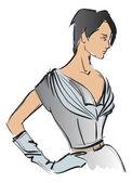 Croquis. fille fashion. mannequin dessinés à la main — Vecteur
