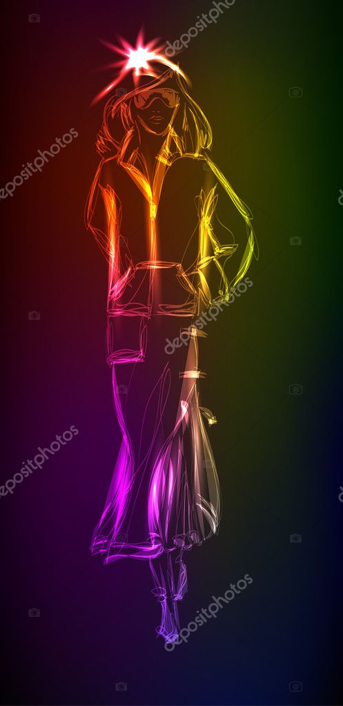 Hand-drawn fashion model from a neon. A light girl's — Stock Vector #11859386