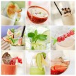 Collage of fresh summer cocktails — Stock Photo