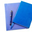 Dark blue writing-books and fountain pen isolated on a white — Stock Photo #11403971