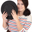 Stock Photo: The smiling plump girl with a hat