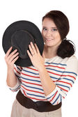 The smiling plump girl with a hat — Stock Photo
