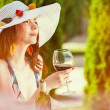 Woman and italian wine — Stock Photo