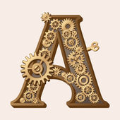 Mechanical alphabet — Stock Vector