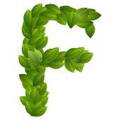 Brief f van groene bladeren alfabet — Stockvector