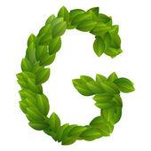 Letra g del alfabeto de hojas verdes — Vector de stock