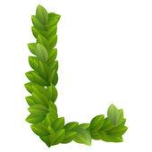 Letter L of green leaves alphabet — Stock Vector