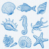 Sea collection. Original hand drawn illustration — Vector de stock