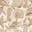 Sea hand drawn seamless pattern — Stok Vektör