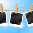 Photos hanging on a clothesline — Stock Vector #11667044