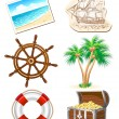 Set of icons for sea travel — Stockvectorbeeld