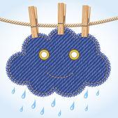 Bir clothesline üzerinde yağmur bulutu — Stok Vektör