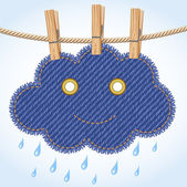 Rain cloud on a clothesline — Vector de stock