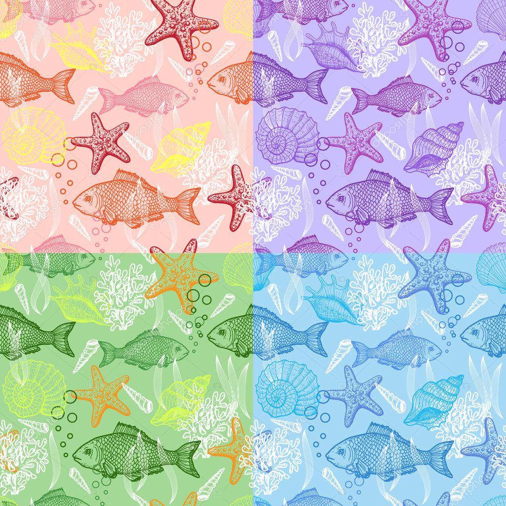 нарисованные картинки морских обитателей