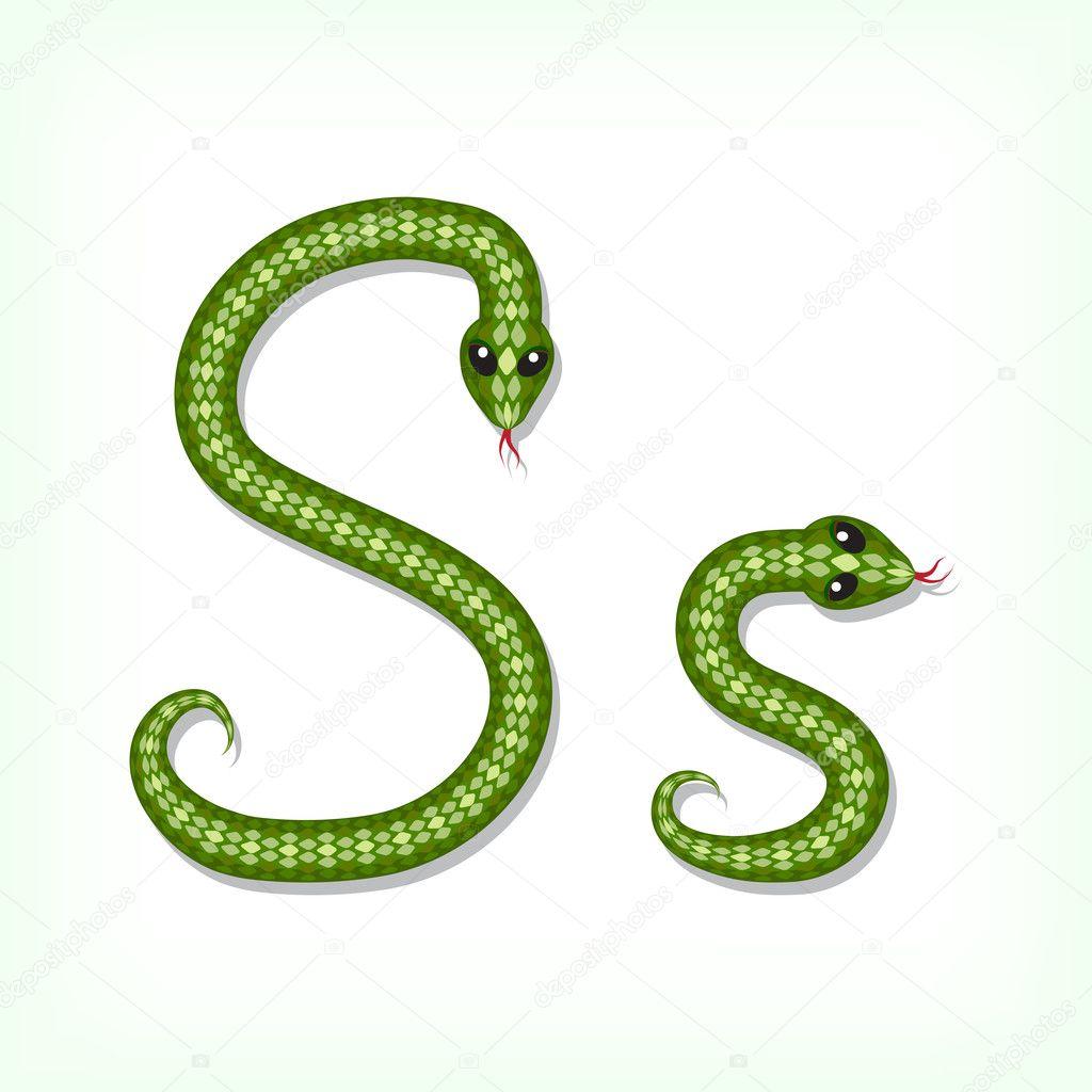 S Snake Font Font made from green snake