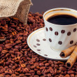Stock Photo: Warm cup of coffee on brown background