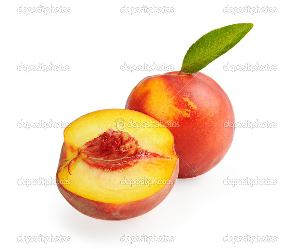 Fresh ripe peach with leaf and section isolated on white — Stock Photo #11461889