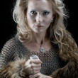 Viking girl with sword - Stock Photo