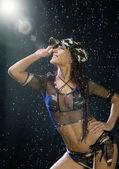 Sexy woman water studio — Stock Photo