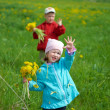 Stock Photo: Boy and small girl on meadow