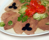 Aspic from meat with egg. — Stock Photo
