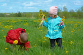 Boy and small girl on meadow — Stock Photo