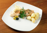 Salmon with potato — Stock Photo