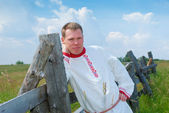 Man in national Russian clothes — Stock Photo