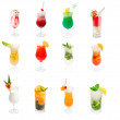 Collection Alcoholic cocktails, isolated on white — Stock Photo