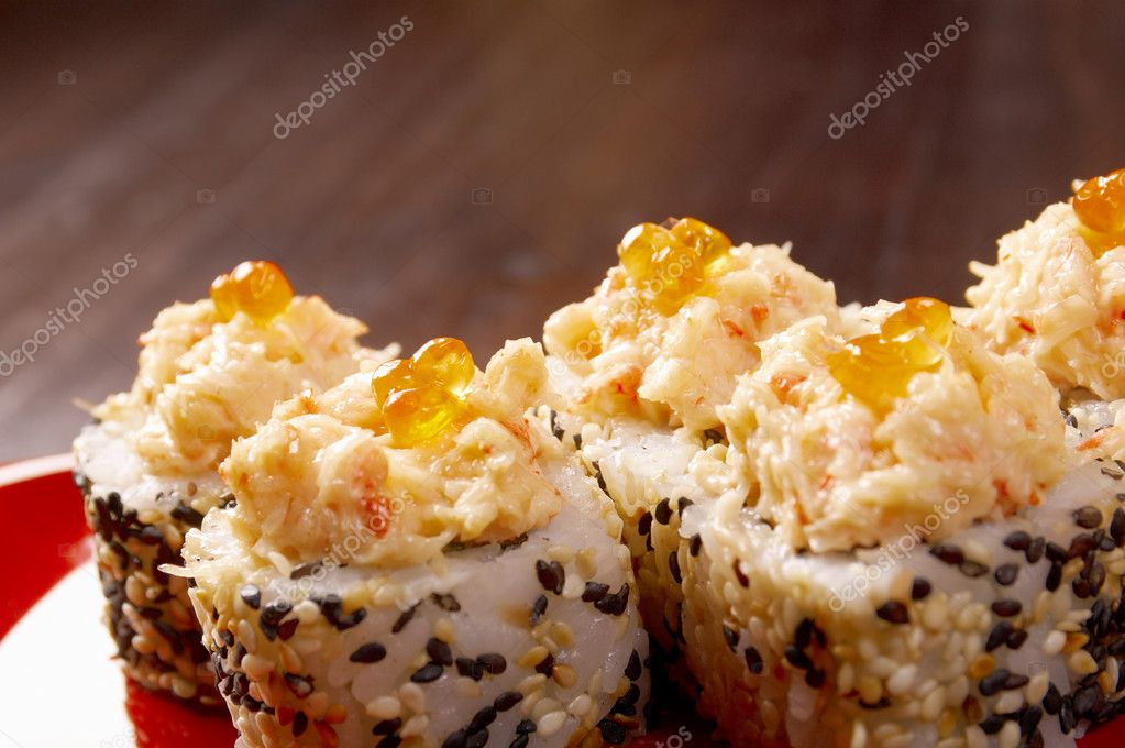 Japanese sushi  traditional japanese food.Roll made of Smoked fish — Stock Photo #11604798