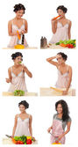 Set . housewife preparation of food — Stock Photo