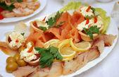 Seafood arrangement. — Stock Photo